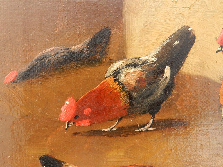 French Farmyard Oil Painting signed Lambert French 19th century Sunny yard with Ducks and Chickens  Will send with its now distressed frame if requested to Good antique condition with minor signs of age to the painting itself which has been behind