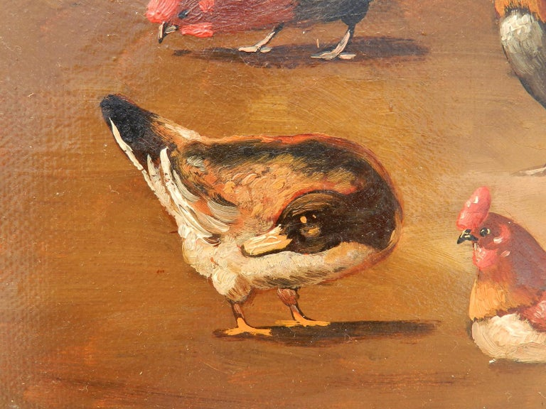 French Farmyard Oil Painting signed Lambert Ducks Chickens French 19th century For Sale 1
