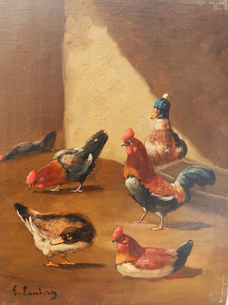 French Farmyard Oil Painting signed Lambert Ducks Chickens French 19th century For Sale 4