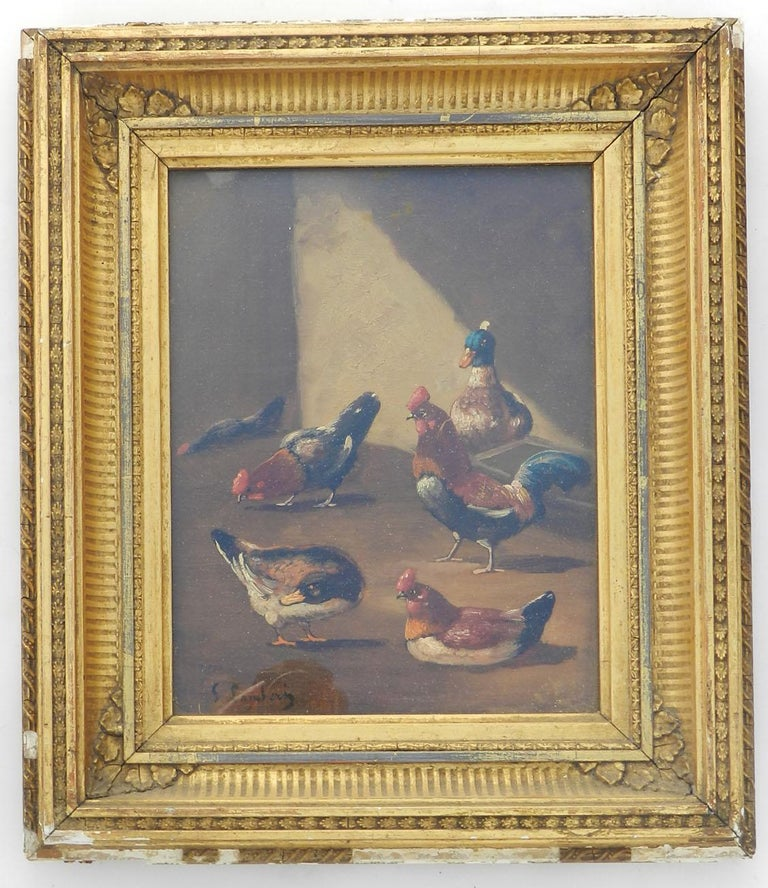 French Farmyard Oil Painting signed Lambert Ducks Chickens French 19th century For Sale 6