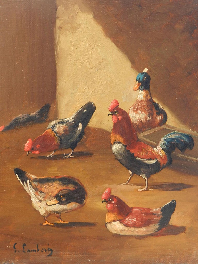 Unknown Animal Painting - French Farmyard Oil Painting signed Lambert Ducks Chickens French 19th century