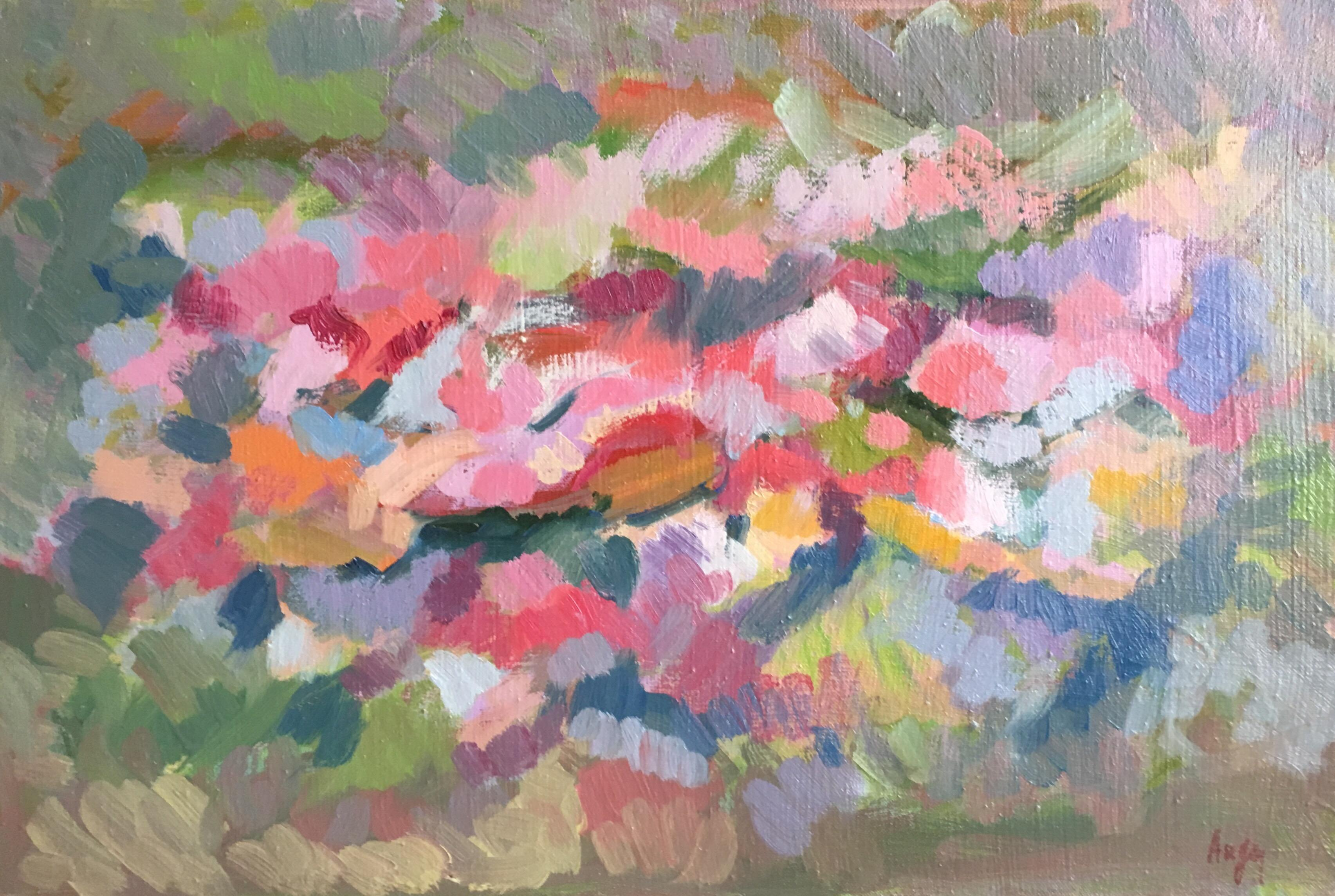 French Floral Abstract, Signed Oil Painting