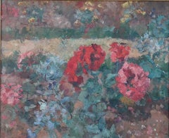 French Impressionist art oil painting ca 1910s garden flower beds in bloom