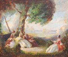 French Impressionist Garden Scene Painting