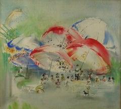 French Impressionist Gouache Umbrellas at the Beach Landscape