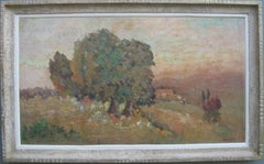 French Impressionist: Les Oliviers Large oil circa 1950's