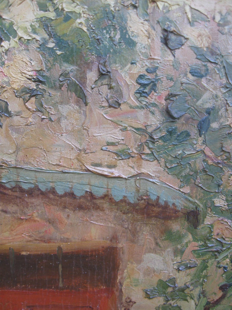 French Impressionist 'Mother and Child in a Sunny Courtyard' oil circa 1930's 11