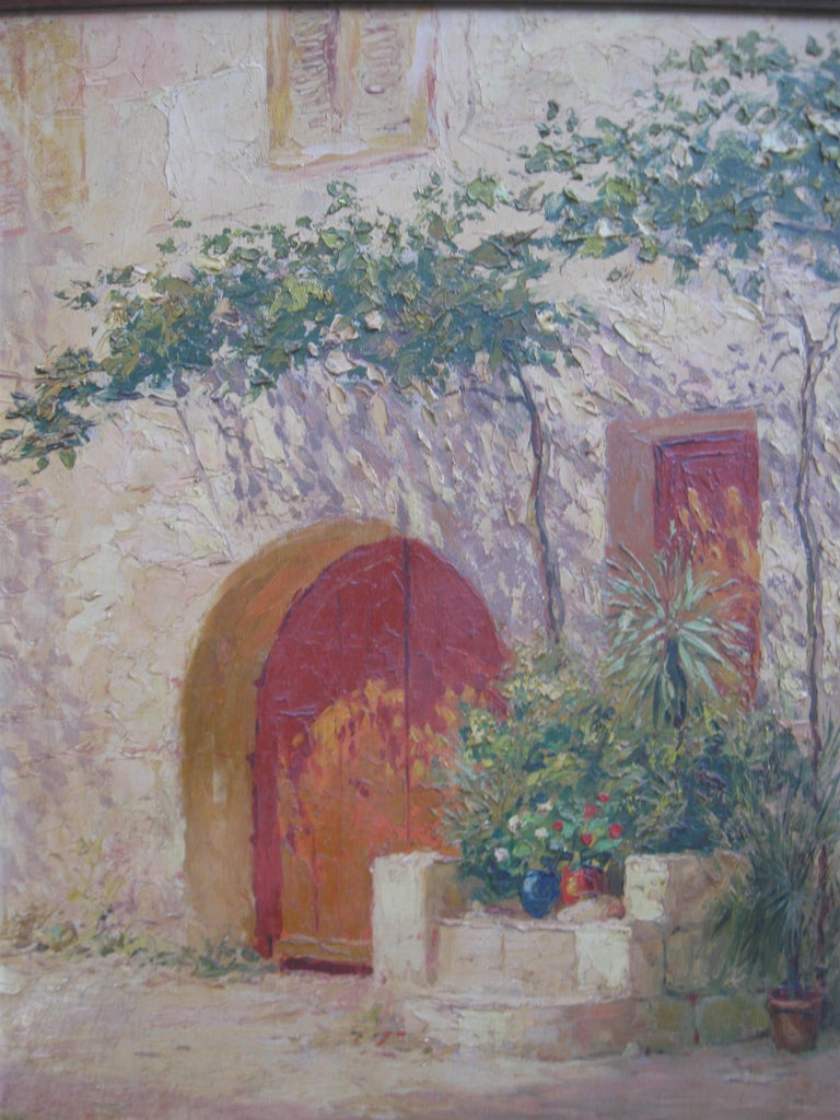 French Impressionist 'Mother and Child in a Sunny Courtyard' oil circa 1930's 12