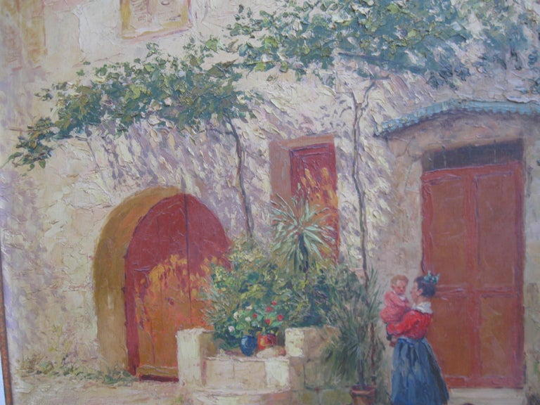 French Impressionist 'Mother and Child in a Sunny Courtyard' oil circa 1930's 13