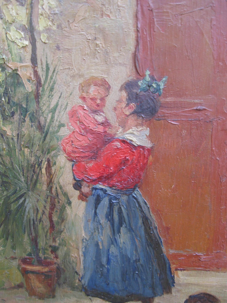 French Impressionist 'Mother and Child in a Sunny Courtyard' oil circa 1930's 18