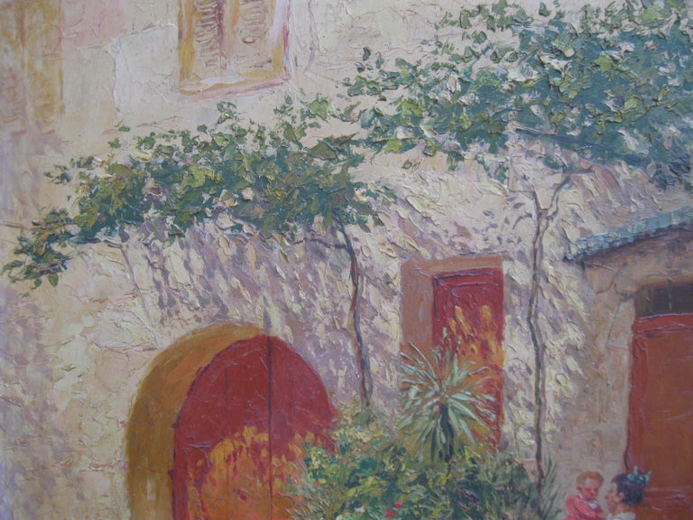 French Impressionist 'Mother and Child in a Sunny Courtyard' oil circa 1930's 4