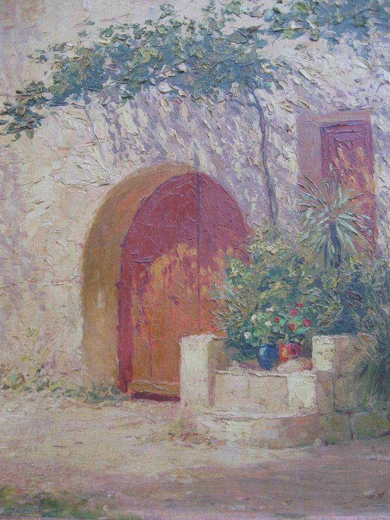 French Impressionist 'Mother and Child in a Sunny Courtyard' oil circa 1930's 5