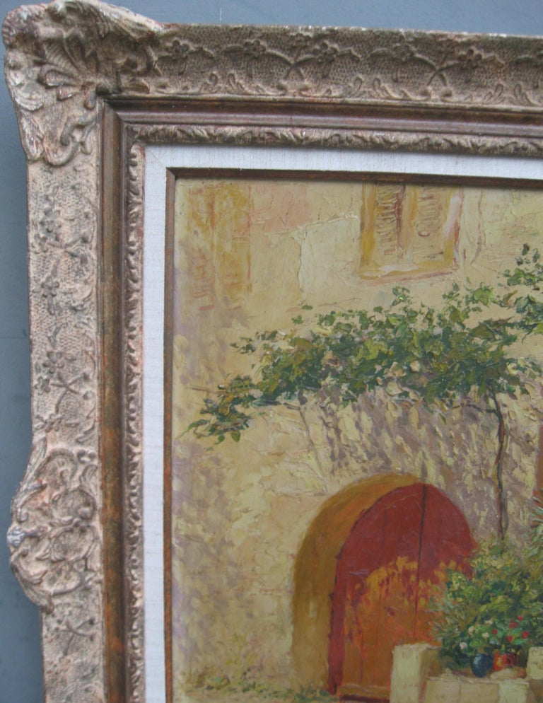 French Impressionist 'Mother and Child in a Sunny Courtyard' oil circa 1930's 6