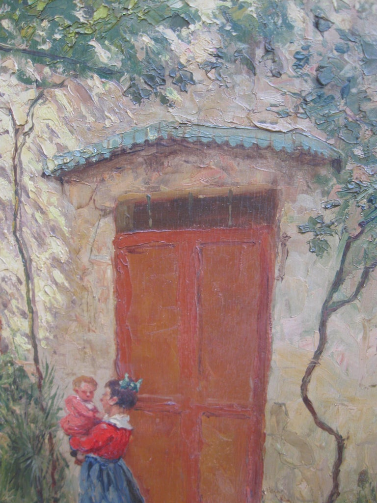 French Impressionist 'Mother and Child in a Sunny Courtyard' oil circa 1930's 8
