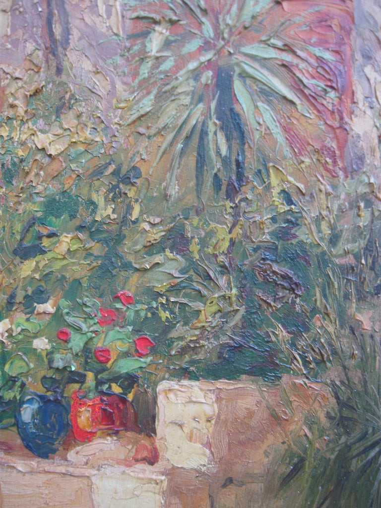 French Impressionist 'Mother and Child in a Sunny Courtyard' oil circa 1930's 9
