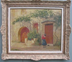 French Impressionist 'Mother and Child in a Sunny Courtyard' oil circa 1930's