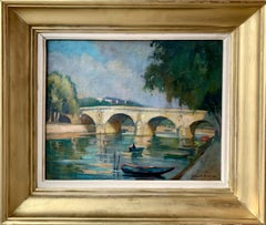 French impressionist painting - Le pont Marie à Paris - Cityscape River bridge