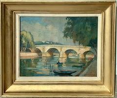 French impressionist painting - Le pont Marie à Paris - Cityscape River bridge