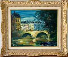 French impressionist painting - Le Pont Neuf à Paris - Cityscape Night Bridge