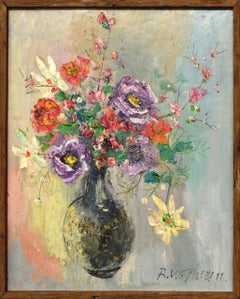 Still Life of Flowers in Vase French Impressionist