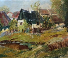 French Impressionist Village Scene, Backyard with Garden and Sunflowers