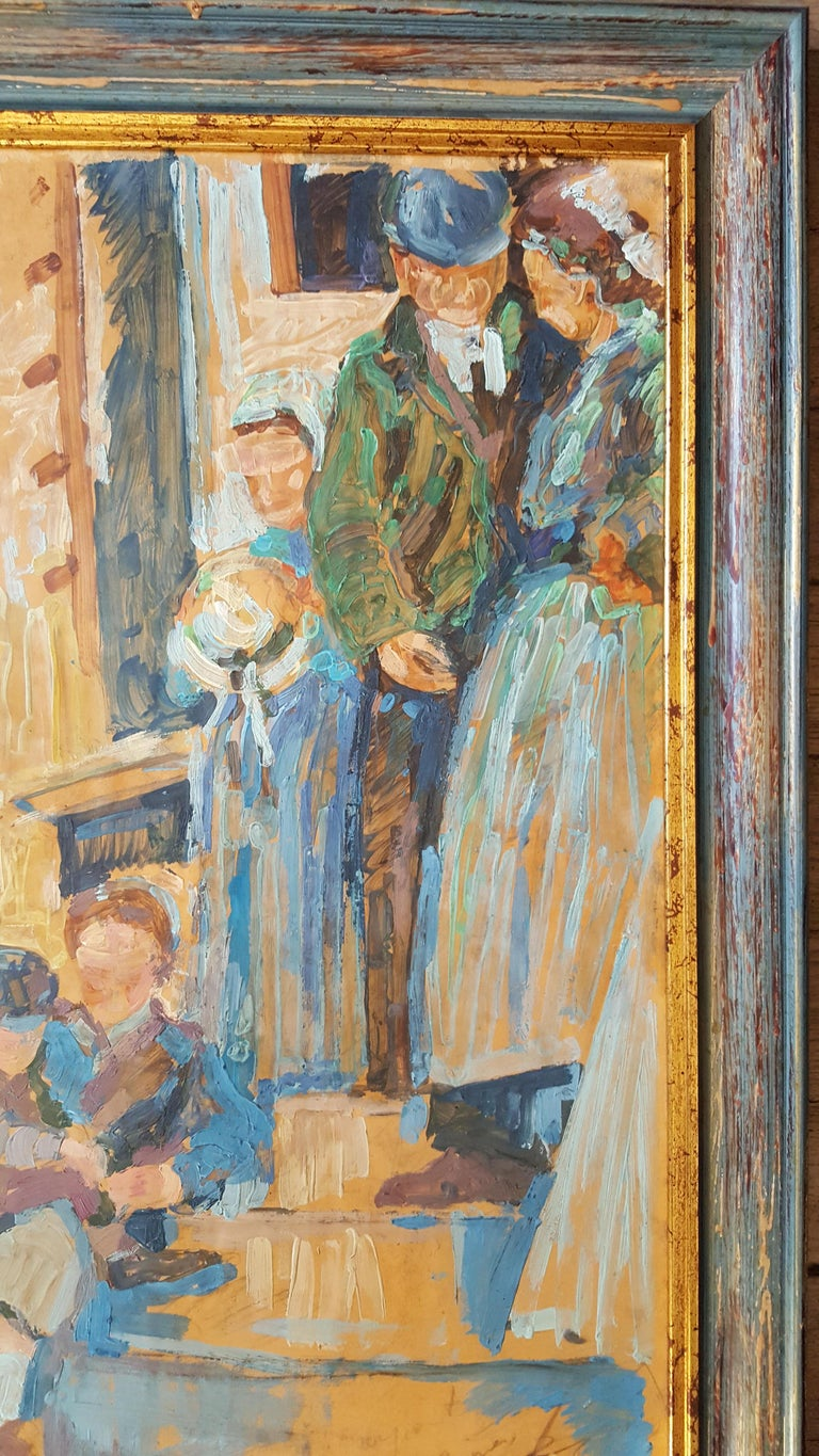 Impressionist Painting representing a lively scene of a character in a rural landscape in France The painting is framed