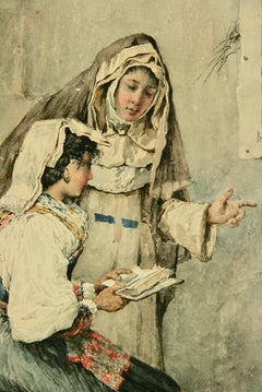 French Lessons Female Painting circa 1920's