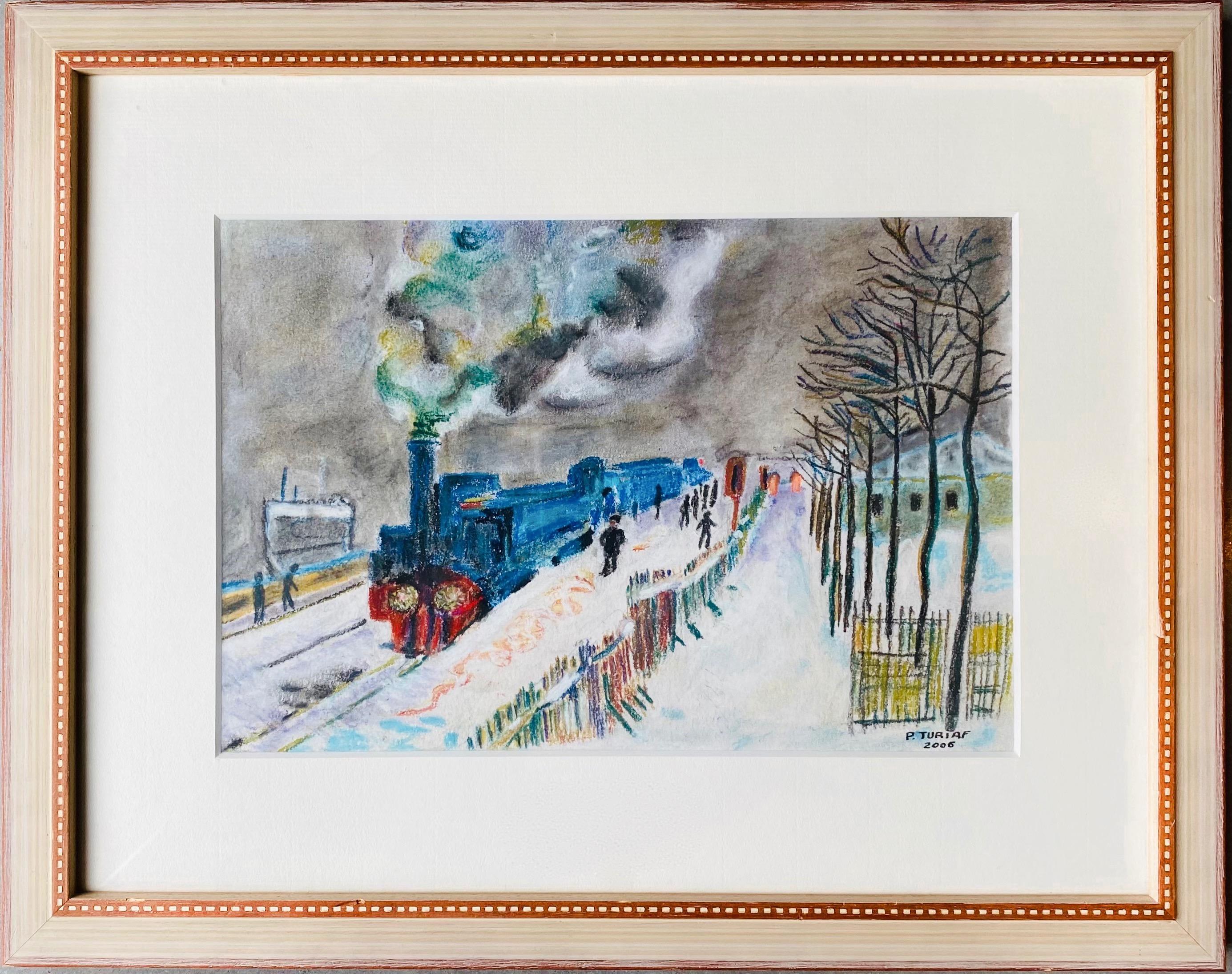 French naive cityscape gouache painting - Figurative - Paris Train snow winter
