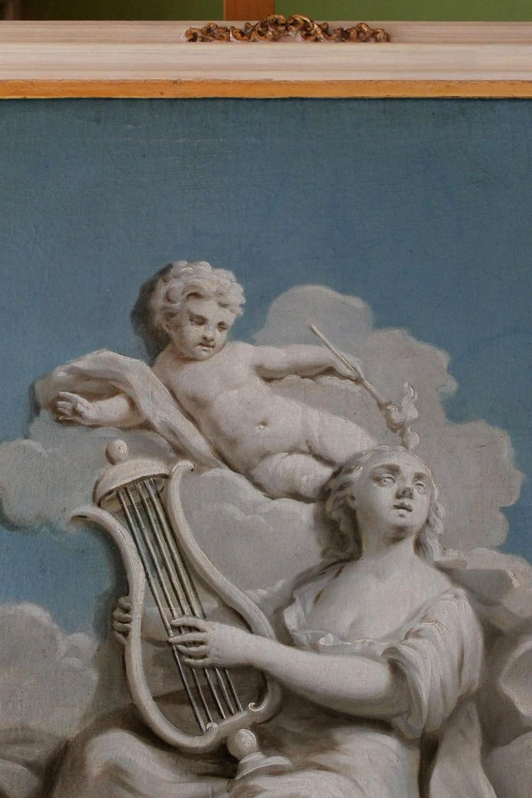 French 19th Century Oil on Canvas Blue and White Music Allegory Cherub Painting  For Sale 8
