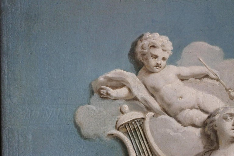 French 19th Century Oil on Canvas Blue and White Music Allegory Cherub Painting  For Sale 9