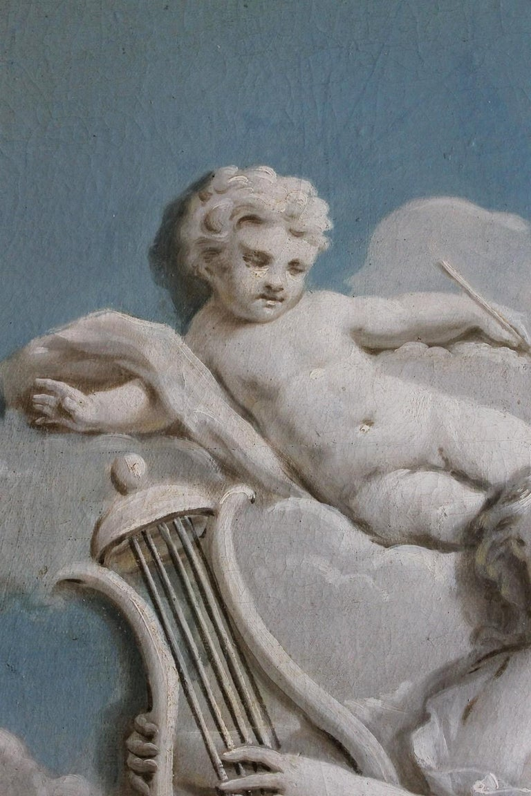 French 19th Century Oil on Canvas Blue and White Music Allegory Cherub Painting  For Sale 1