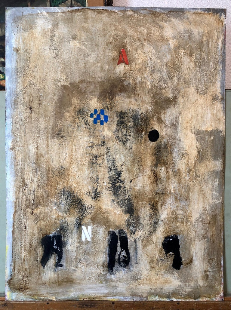 French Pop Art Modernist Textured Painting Abstract With Stencilled Letters For Sale 5