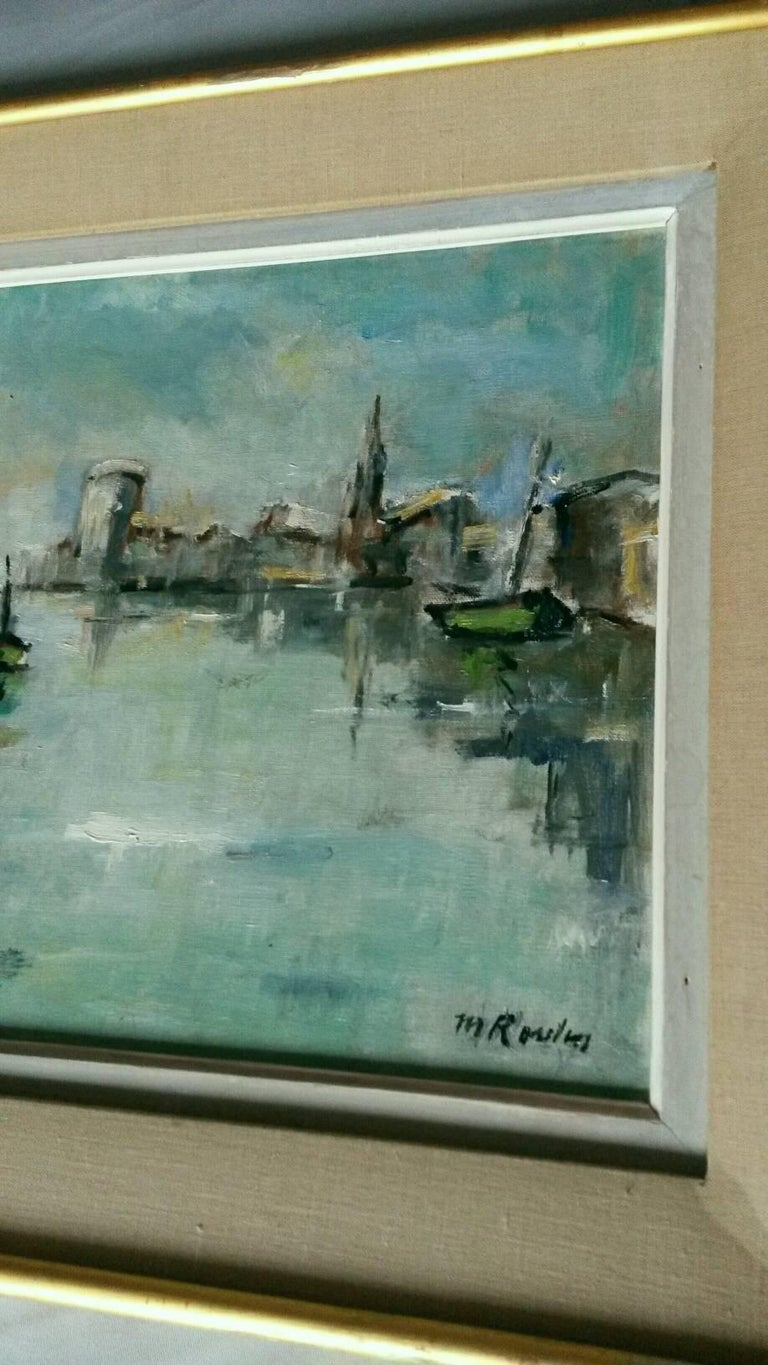 Beautiful Post Impressionist French Marina landscape, oil on canvas representing la Rochelle.   It is signed. probably Rossini .  In a very good general condition with its original  frame.  Dimensions :  With frame 59,5 cm x 47 cm  Without  frame 46