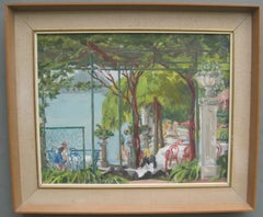 French Riviera Hotel Garden with Bathers oil on canvas circa 1950's
