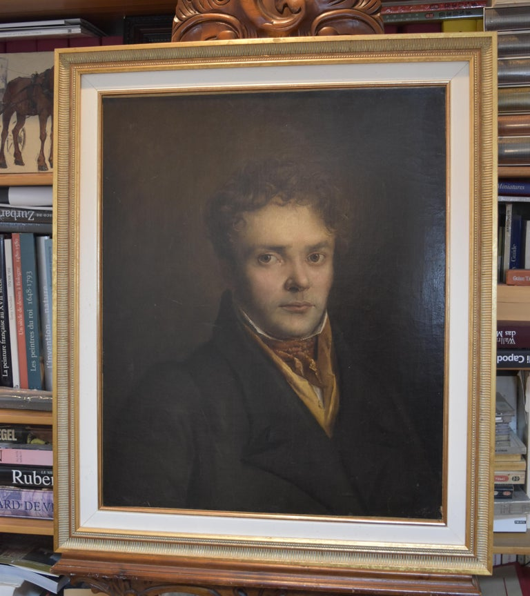 French Romantic School, Portrait of a Young Man, oil on canvas For Sale 1