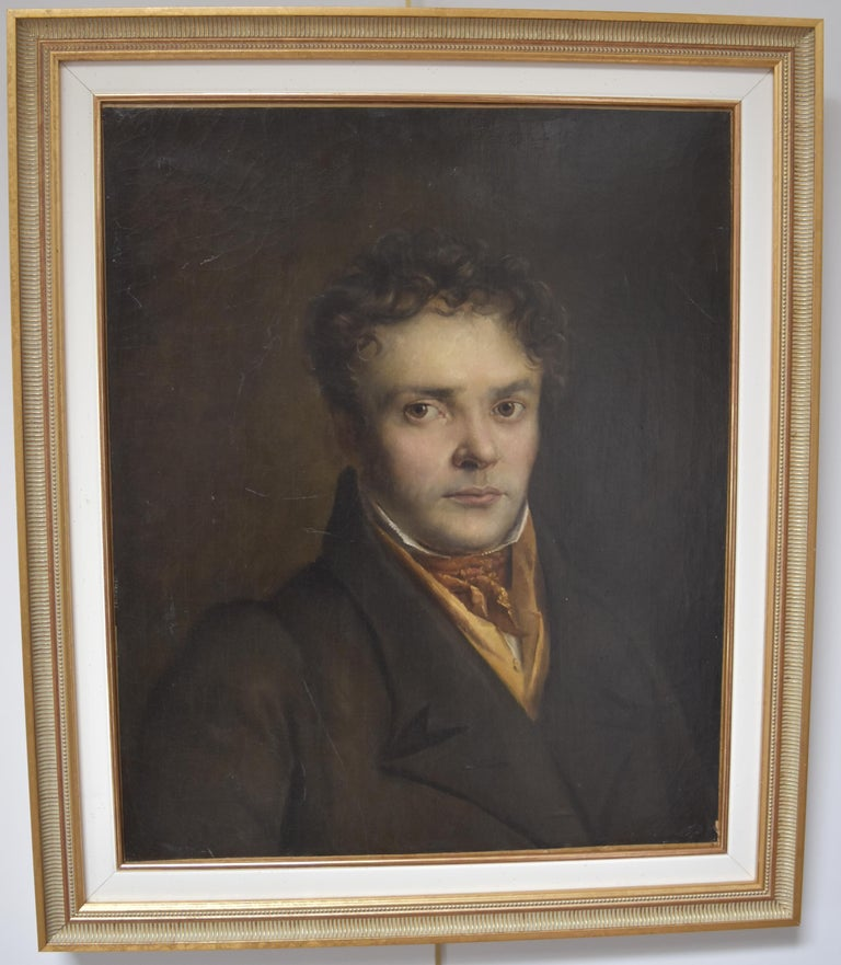 French Romantic School, Portrait of a Young Man, oil on canvas For Sale 2