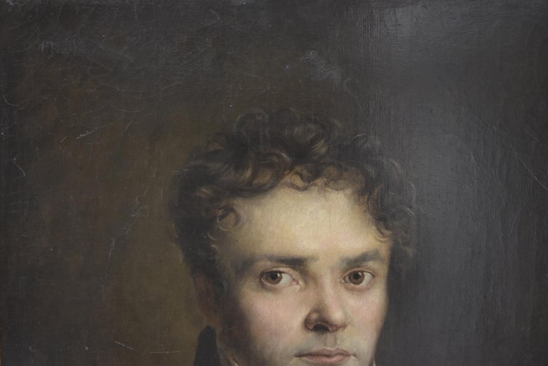 French Romantic School, Portrait of a Young Man, oil on canvas - Black Portrait Painting by Unknown