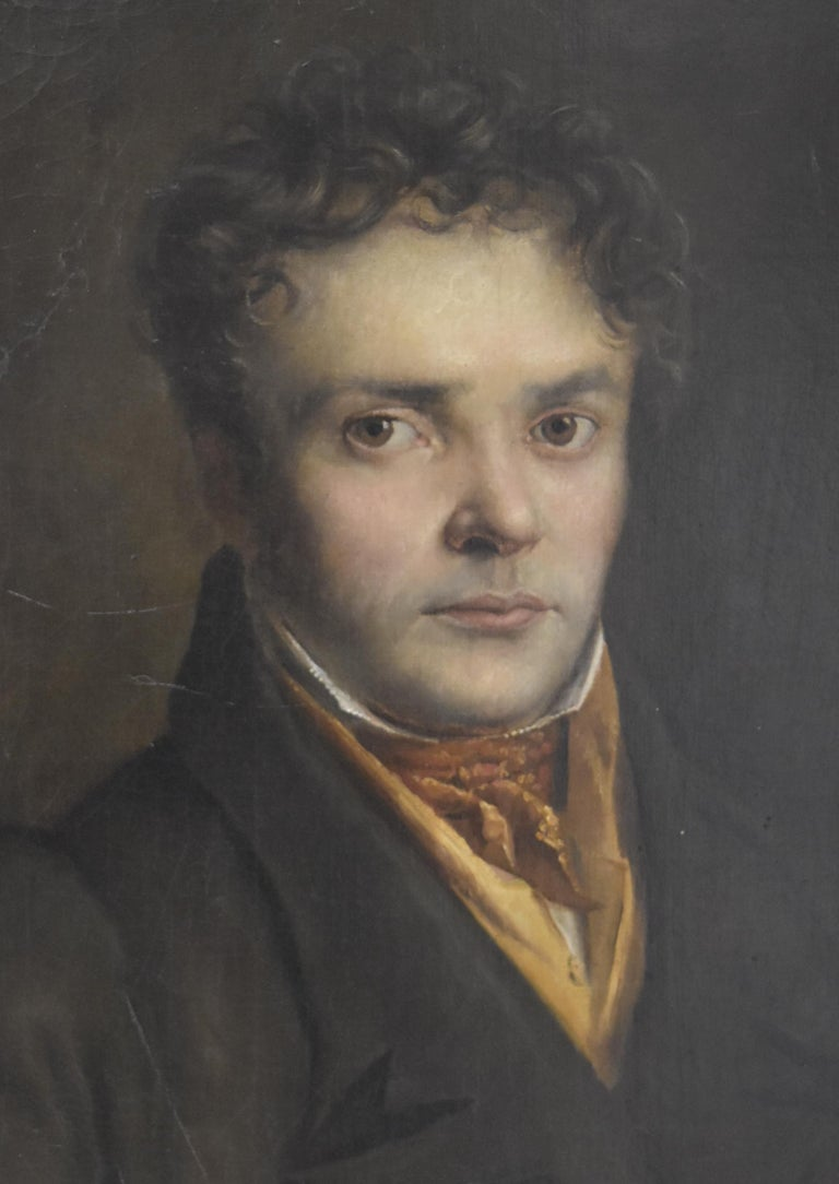 French Romantic School, Portrait of a Young Man, oil on canvas - Painting by Unknown