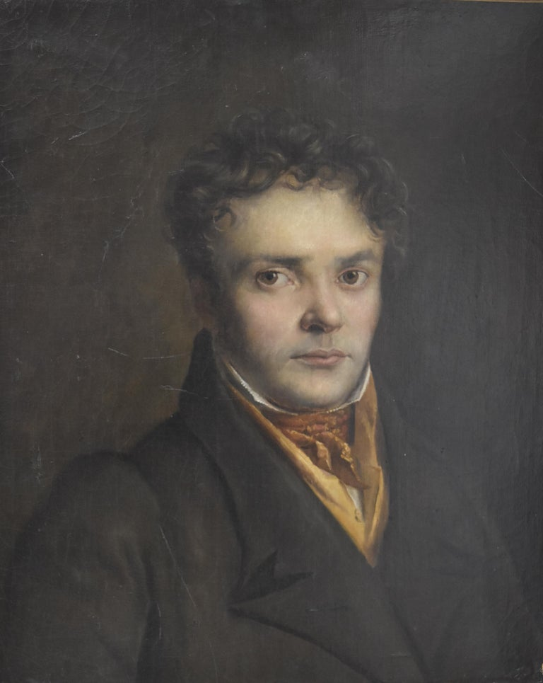 Unknown Portrait Painting - French Romantic School, Portrait of a Young Man, oil on canvas