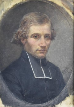 French Romantic School, Portrait of a young priest, dated 1860 oil on canvas
