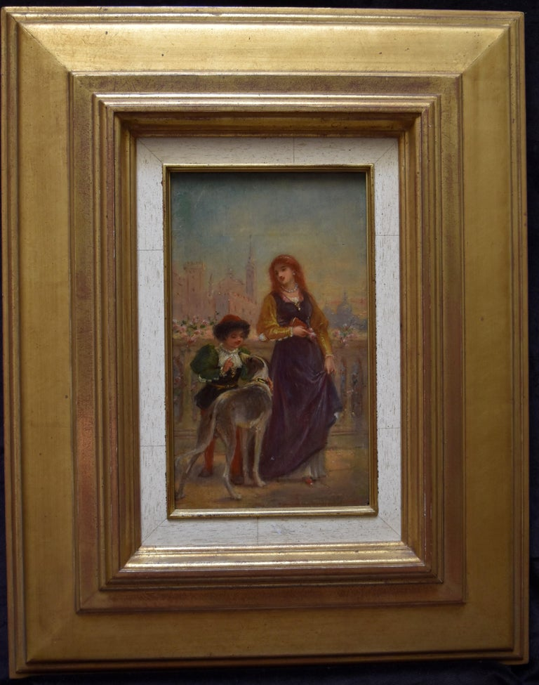 French School 19th C, A Renaissance scene with a Lady and a boy, oil on panel - Romantic Painting by Unknown