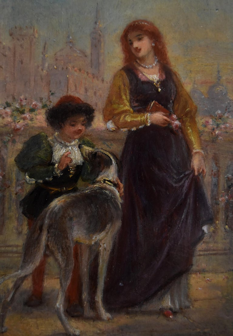 French School 19th C, A Renaissance scene with a Lady and a boy, oil on panel - Painting by Unknown