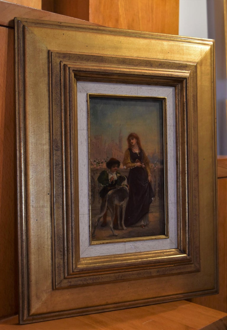 French School 19th C, A Renaissance scene with a Lady and a boy, oil on panel For Sale 1