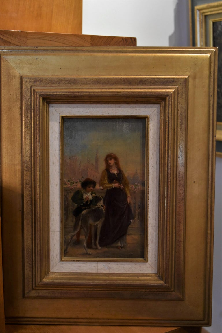 French School 19th C, A Renaissance scene with a Lady and a boy, oil on panel For Sale 2