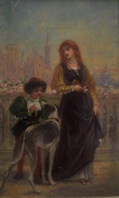 French School 19th C, A Renaissance scene with a Lady and a boy, oil on panel