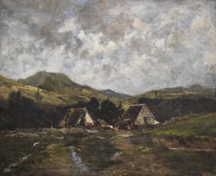 French School 19th century, A hamlet in the mountains, oil on canvas