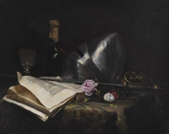 French School 19th Century, A Romantic Still-life with a sword a book and roses