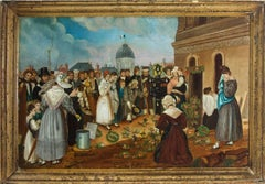 French School 19th Century Oil - French Funeral Scene