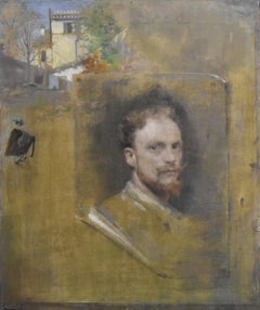 "French school 19th century, Selfportrait ""trompe l'oeil"", oil sketch"