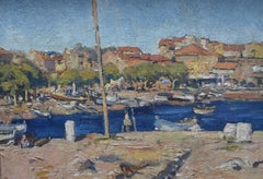 French school 20th century, A Port in Southern France, oil on canvas